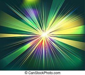 光線, 爆炸, 鮮艷, 矢量, 技術, 未來