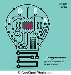 光, 創造性, 燈泡, 簽署