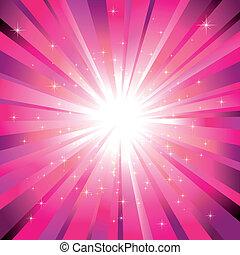 光, 品紅色, 星, 閃耀, 爆發