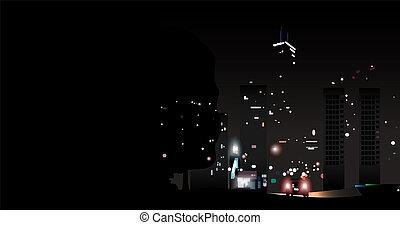 光, 城市, 夜晚