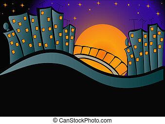 光, 夜晚, 背景, 城市