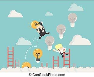 光, 梯子, 向上, 事務, 燈泡
