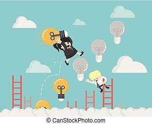 光, 梯子, 向上, 老板, 錢, 燈泡, 投資