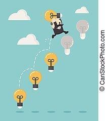 光, 梯子, 商人, 向上, 燈泡