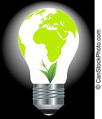 光, 植物, 綠色地球, 燈泡