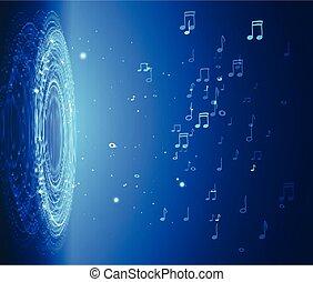 光, dinamic, 摘要, 插圖, 注釋, 藍色, 音樂, 背景