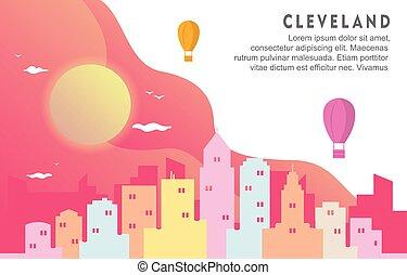 克利夫蘭, 都市風景, 背景, 俄亥俄, 城市地平線, 動態, 插圖, 建築物