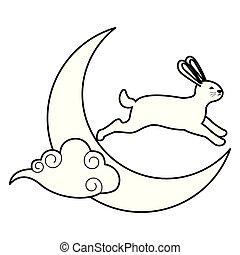 兔子, 黑色, 白色的月亮, 雲