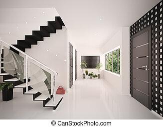 入口, render, 現代, 內部, 大廳, 3d