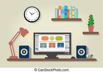 內部設計者, 現代, 辦公室, 桌面