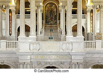 內部, 圖書館, 華盛頓特區, 國會