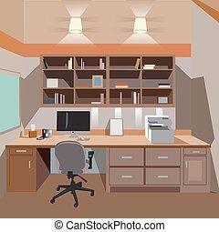 內部, 家, 現代, 辦公室, 桌面