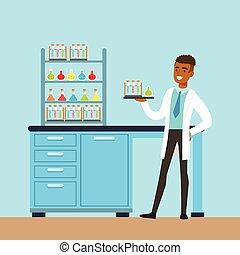 內部, 矢量, 實驗室, 實驗室, 人, 研究, 科學家, 科學, 插圖, 進行