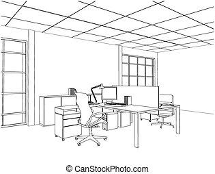 內部, 矢量, 房間, 辦公室