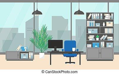 內部, 窗口, 辦公室, 現代