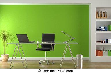 內部, 綠色, 現代, 設計, 辦公室