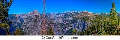 全景, 冰川, 國家, 點, 圓屋頂, 公園, 加利福尼亞, 一半, 看法, yosemite