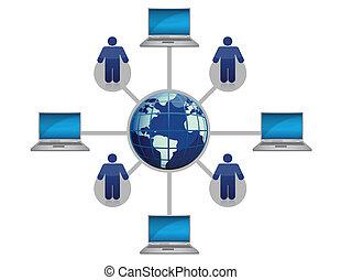 全球的网絡, 電腦, 藍色