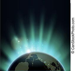 全球, 世界, 在上方, sunburst