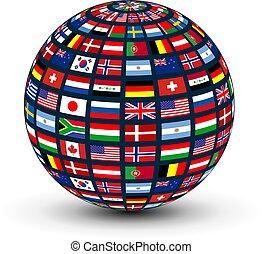 全球, 世界, 旗
