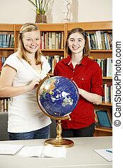 全球, 女孩, 青少年, 圖書館