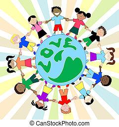 全球, 孩子, 愛