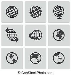 全球, 矢量, 黑色, 集合, 圖象