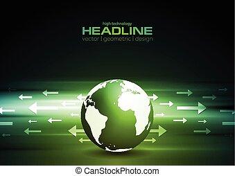 全球, 箭, 深綠, 背景, 技術