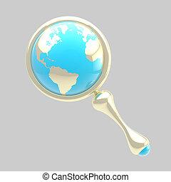 全球, 裡面, 玻璃, 地球, 擴大, 圖象