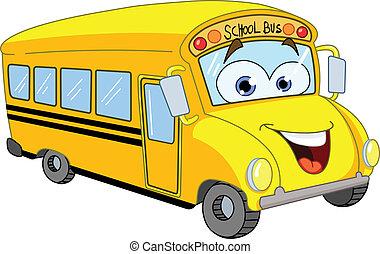 公共汽車, 學校, 卡通