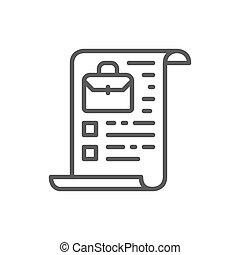 公司, 特許証, 文件夾, 線, 股票, icon.