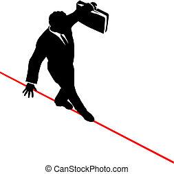 公文包, 事務, 平衡, 高, 拉緊的繩索, 步行, 危險, 人