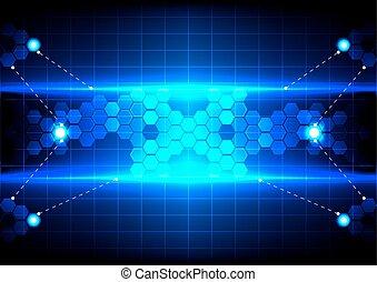 六角形, 摘要, 影響, 技術, 藍色的燈