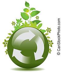 再循環, 全球, 綠色, 符號