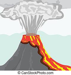 冒煙, 圓柱, 大, 煙, 熔岩, 矢量, 插圖, 火熱, 火山