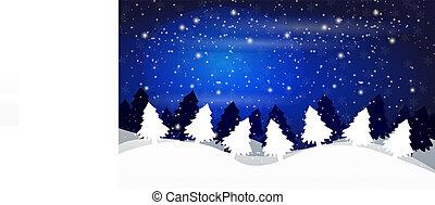 冬天, 天空, 針對, 樹, 夜晚, 風景