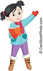 冬天, 布, 書, 激情, 使用, 女孩讀物, 愉快