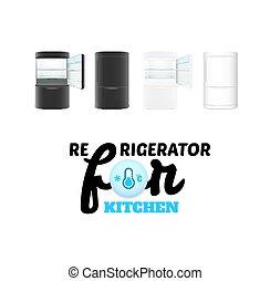 冰箱, 白色, 現代, 被隔离, 背景