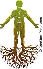 凱爾特語, 做, 運動, 上帝, concept., 樹, 矢量, roots., 古老, 人