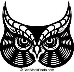 凶猛, 看, 有角的貓頭鷹