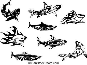 凶猛, 紋身, 鯊魚, 圖象