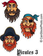 凶猛, 集合, 卡通, 海盜