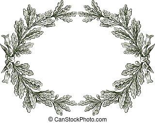 分支, 帶子, 矢量, 植物, 框架, 勾畫, 橡木