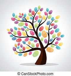 列印, 手指, 差异, 樹