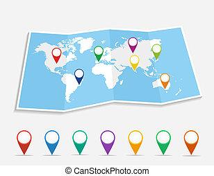 別針, 位置, file., geo, eps10, 矢量, 世界地圖
