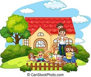 前面, 家庭野餐, 院子
