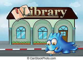 前面, 怪物, 圖書館, 寫