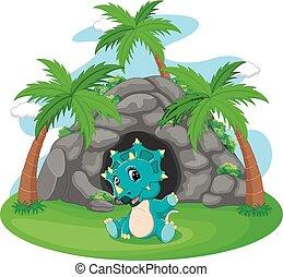 前面, 恐龍, 山洞