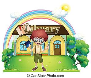 前面, 男孩, 圖書館, 小山頂