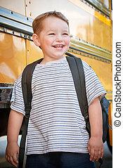 前面, 男孩, 學校公共汽車